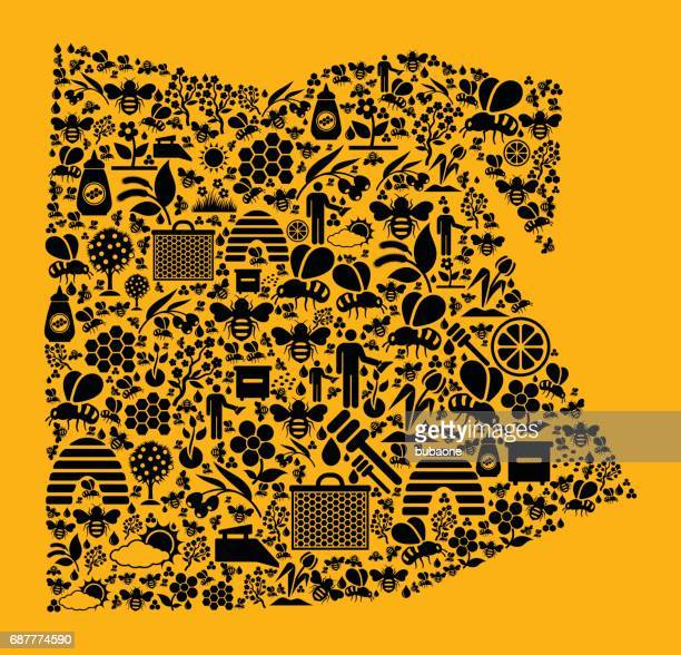 egypt bee and honey vector icons background - flower part stock illustrations