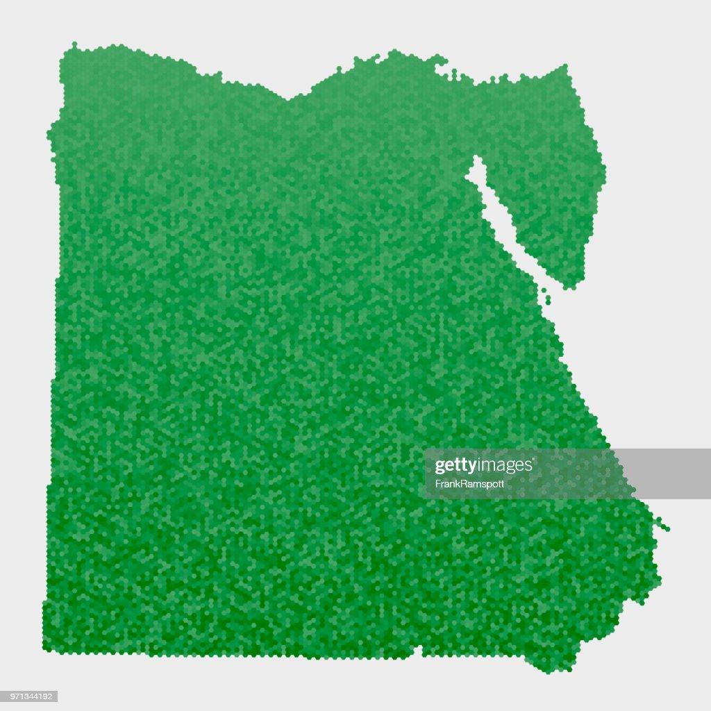 Ägypten-Land-Map-grünen Sechseck-Muster : Stock-Illustration
