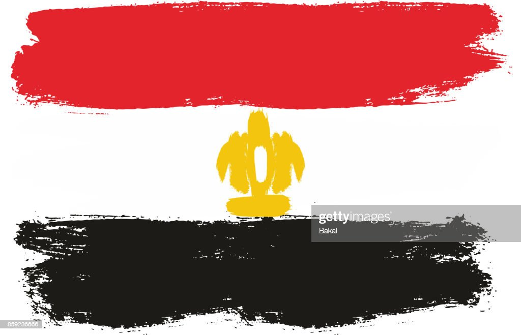 Egypt Flag Vector Hand Painted with Rounded Brush