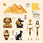 Egypt Flat Icons Design Travel Concept.Vector
