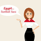 Egypt football fans.Cheerful soccer fans, sports images.Young woman,Pretty girl sign.Happy fans are cheering for their team.Vector illustration