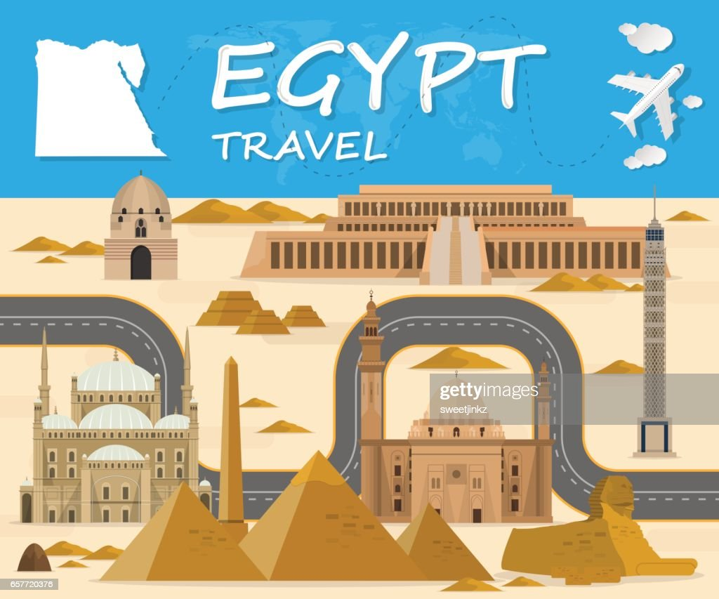 Egypt Landmark Global Travel And Journey Infographic background. Vector Design Template.used for your advertisement, book, banner, template, travel business or presentation.