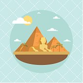 Egypt landmarks and travel place.Vector illustration