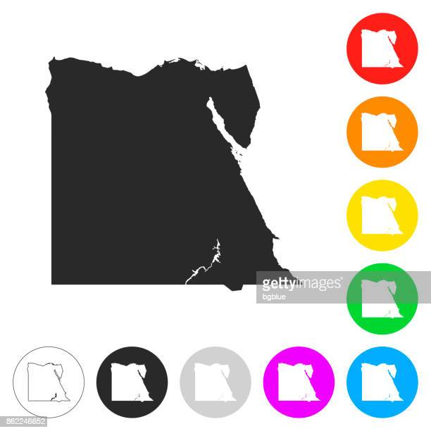 Egypt map - Flat icons on different color buttons
