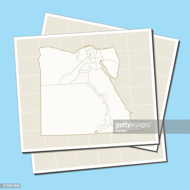 Egypt map on a sheet of paper