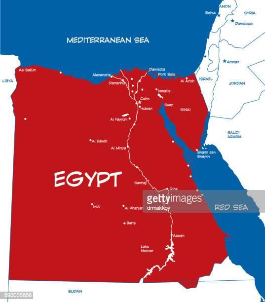 egypt map - thebes egypt stock illustrations