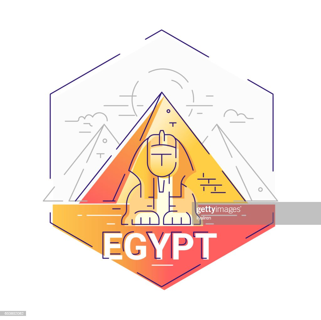 Egypt - modern vector line travel illustration