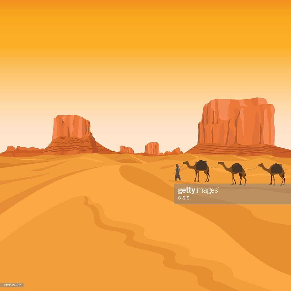 Egypt sahara desert with camels