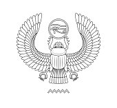 Egypt scarab pattern on white background