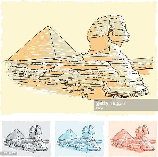 egypt sketch - the sphinx stock illustrations, clip art, cartoons, & icons