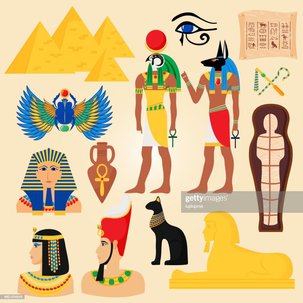 Egypt Symbols And Landmarks Ancient Pyramids Desert Egyptian People
