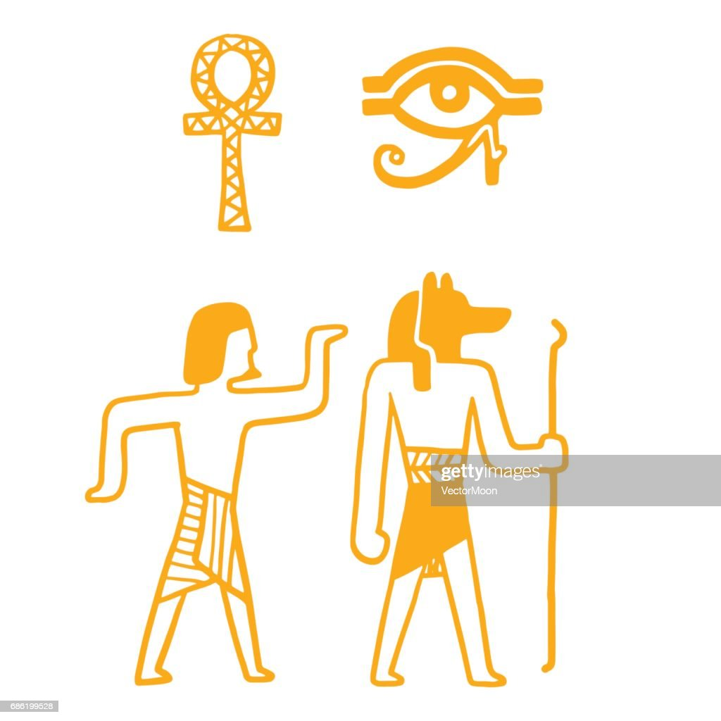 Egypt travel history sybols hand drawn design traditional hieroglyph vector illustration style