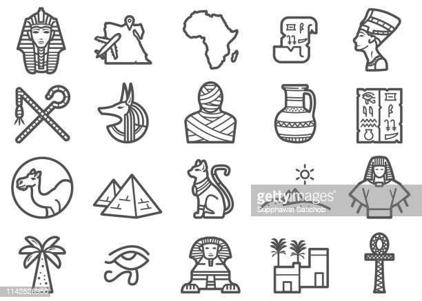 egypt travel line icons set - pharaoh stock illustrations