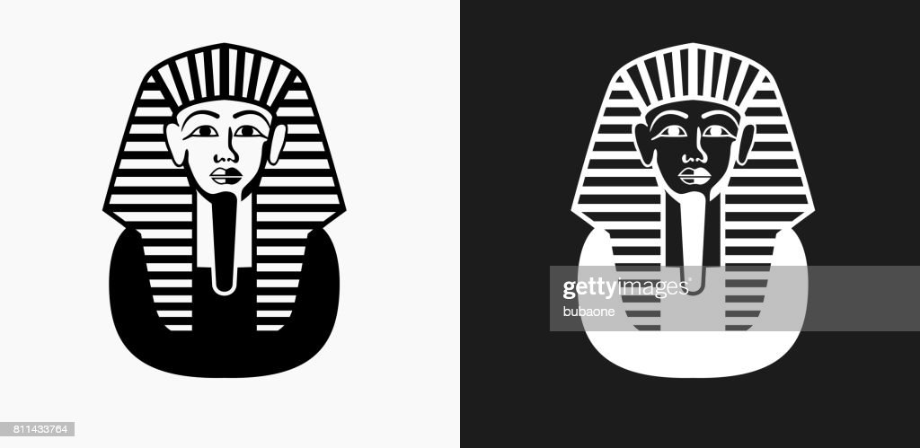 Egyptian Coffin Icon on Black and White Vector Backgrounds