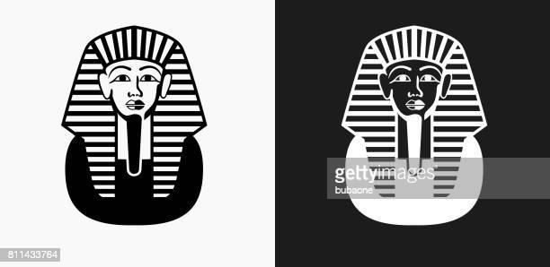 egyptian coffin icon on black and white vector backgrounds - pharaoh stock illustrations