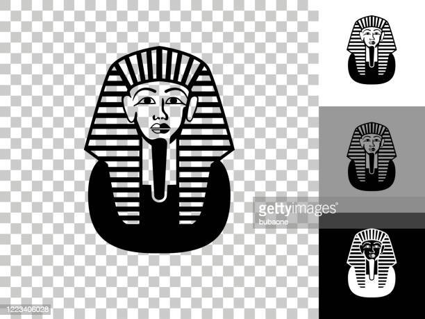 egyptian coffin icon on checkerboard transparent background - pharaoh stock illustrations
