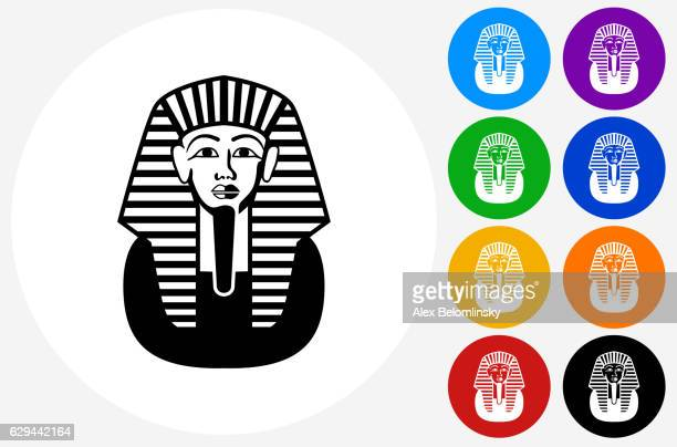 egyptian coffin icon on flat color circle buttons - pharaoh stock illustrations