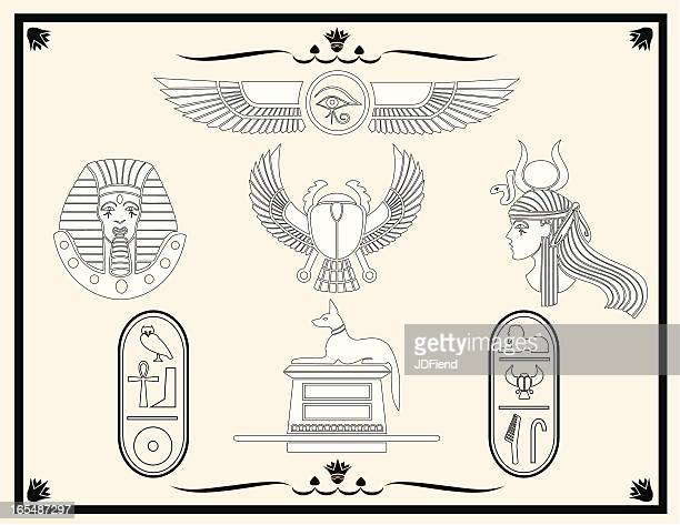 egyptian design elements - queen royal person stock illustrations, clip art, cartoons, & icons