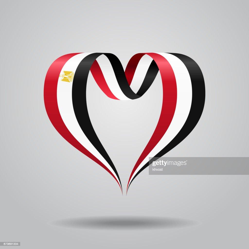 Egyptian flag heart-shaped ribbon. Vector illustration.