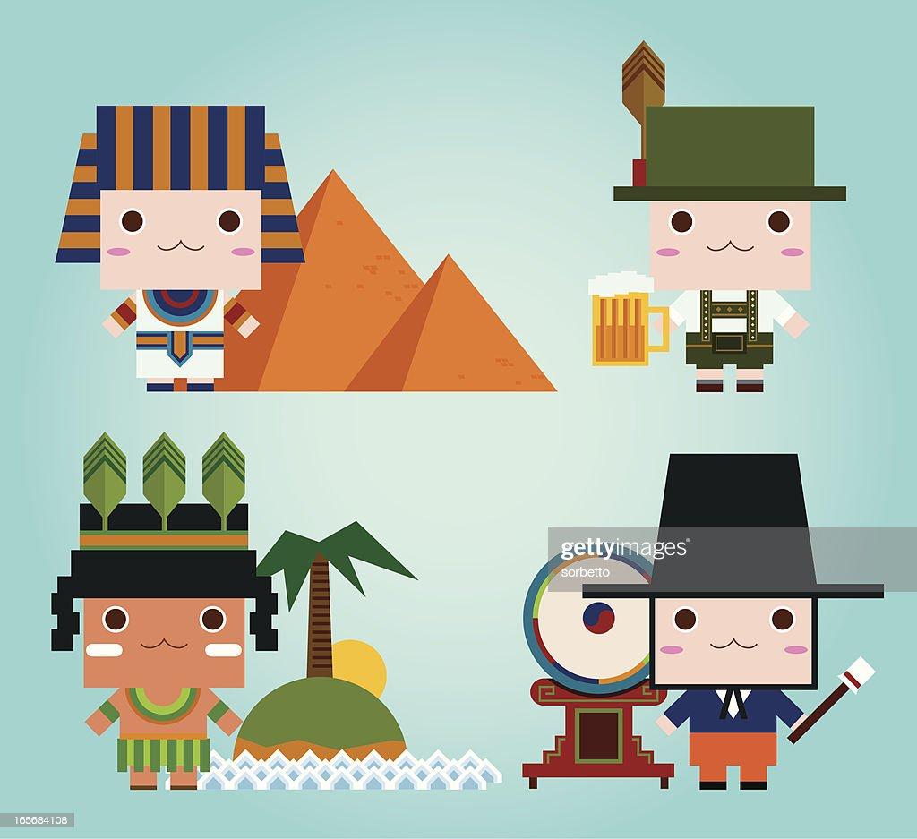 Egyptian, German, Aborigine, Korean
