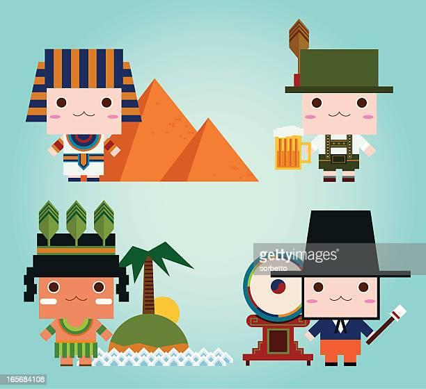 ilustraciones, imágenes clip art, dibujos animados e iconos de stock de egipcio, alemán, coreano, aborigen - cultura coreana