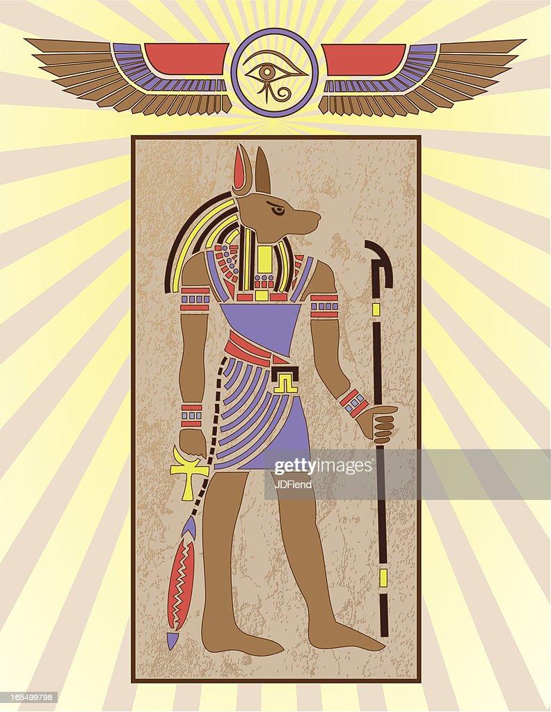 Egyptian Hieroglyph Panel: Anubis : stock illustration