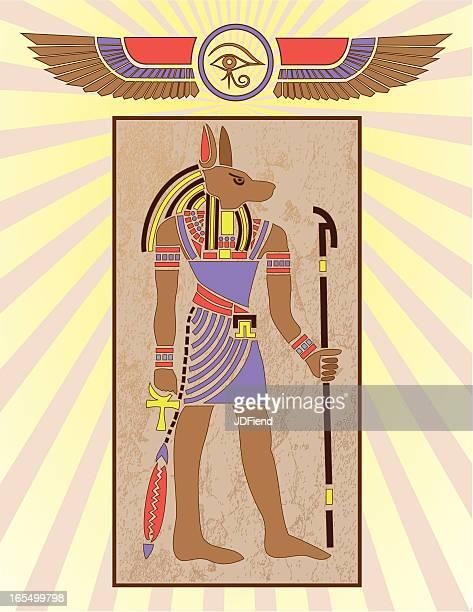 Panel de jeroglíficos egipcios: Anubis