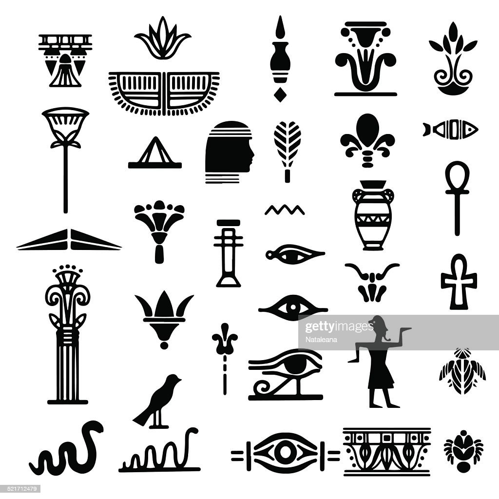 Egyptian icon set black silhouettes, hieroglyphs