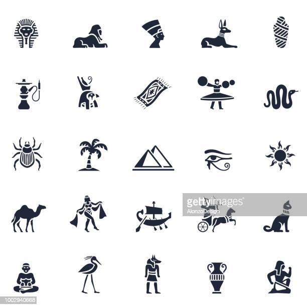 egyptian icon set - the sphinx stock illustrations, clip art, cartoons, & icons