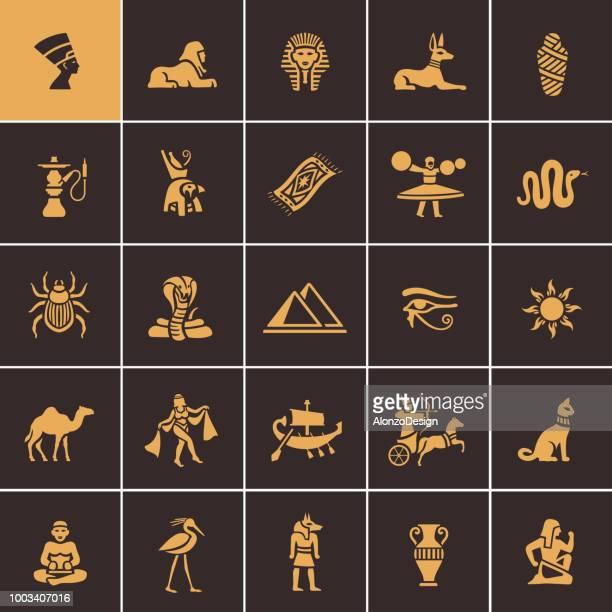 ilustrações, clipart, desenhos animados e ícones de conjunto de ícones egípcios - cultura egípcia