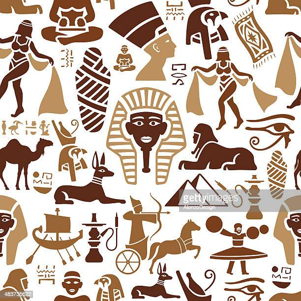 egyptian pattern - the sphinx stock illustrations, clip art, cartoons, & icons