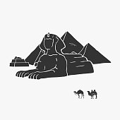 Egyptian Pyramids And Camels Vector Illustration