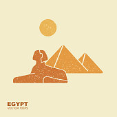 Egyptian pyramids and sphinx vector symbol icon design. Vector flat icon with scuffed effect