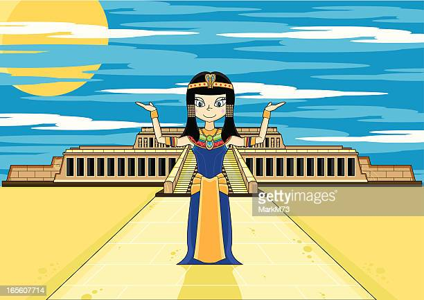 egyptian queen cleopatra at hatshepsut's temple - thebes egypt stock illustrations