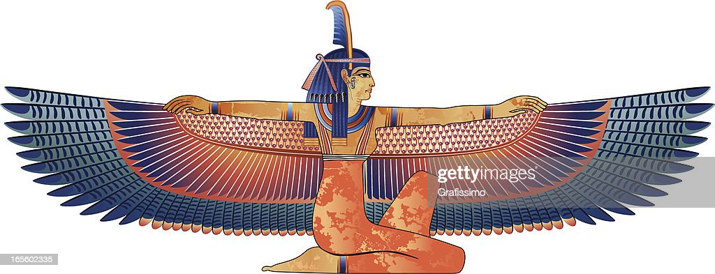 Egyptian queen with wings isolated on white