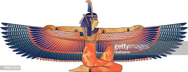Egyptian queen con alas Aislado en blanco