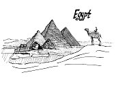 Egyptian sketch pen pyramid sphinx and camel with rider