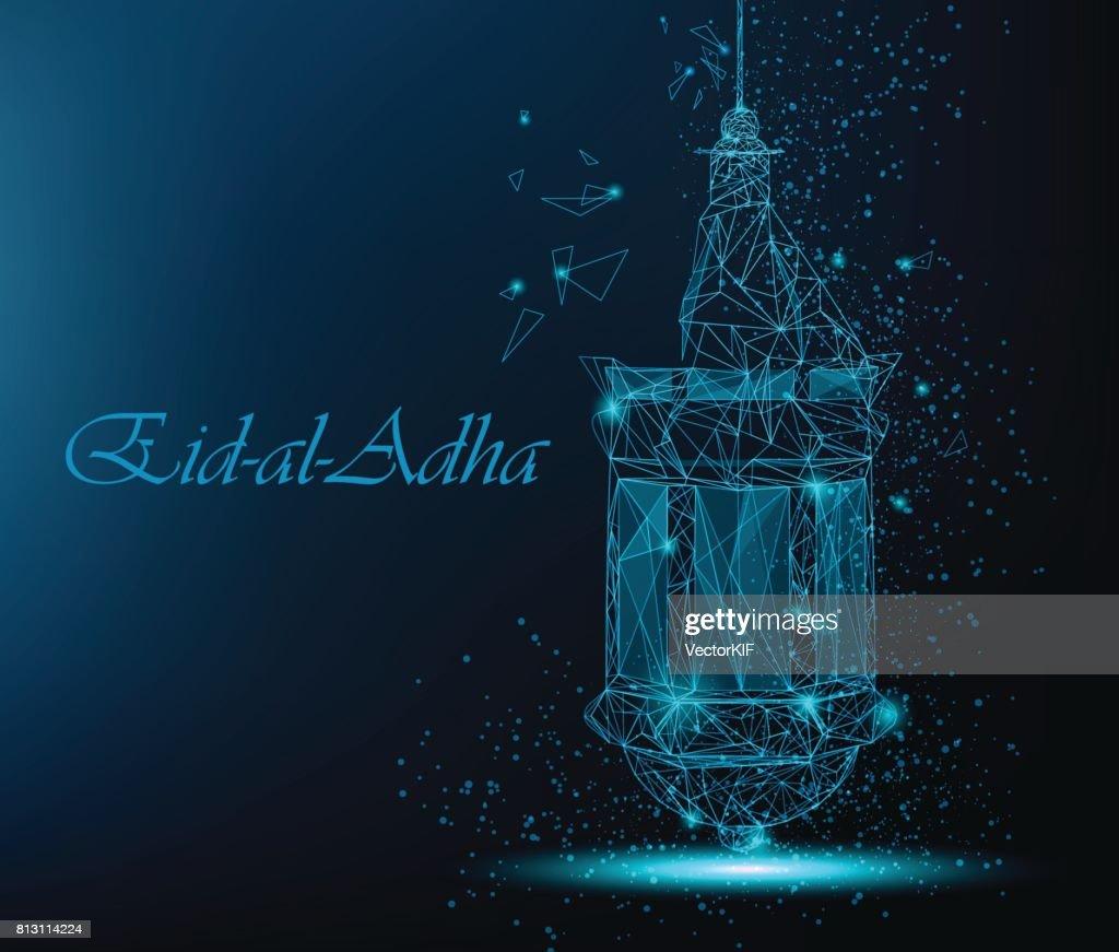 Eid Al Adha Beautiful Greeting Card With Traditional Arabic Lantern