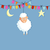 Eid al Adha. Hand drawn sheep, party flags, moon, star.