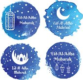 Eid Al Adha Mubarak greeting card, banner, poster, logo with lantern, crescent, moon and star elements on holiday. Vector arabic background in islamic style