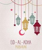 Eid Al Adha mubarak greeting card. Hanging colorful lantern