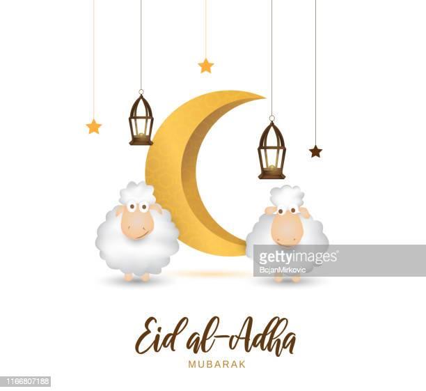 illustrations, cliparts, dessins animés et icônes de carte de vœux de mubarak d'aïd al adha avec le mouton mignon, la lune, la lanterne et les étoiles. vecteur - aid el kebir