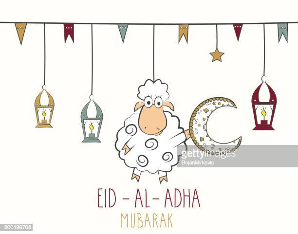 eid al adha mubarak. hand drawn poster. colorful hanging lantern - eid al adha stock illustrations