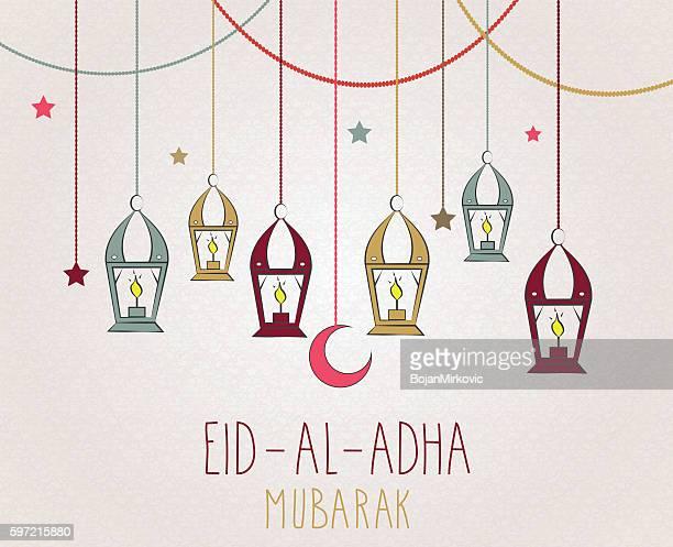 eid al adha mubarak hand drawn poster - eid al adha stock illustrations