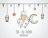 Eid Al Adha mubarak. Hand drawn poster with hanging sheep, lantern and star.