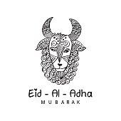 Eid Al Adha mubarak. Hand drawn poster with sheep.