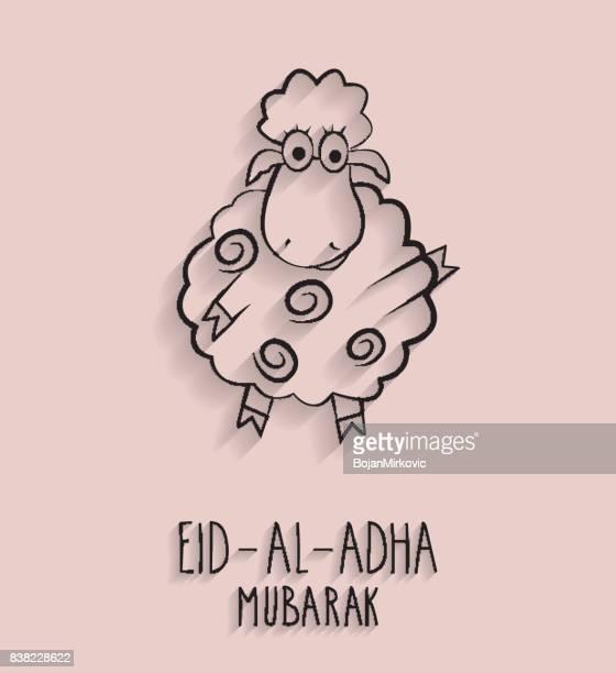 eid al adha mubarak. outline sheep. handwritten text - eid al adha stock illustrations