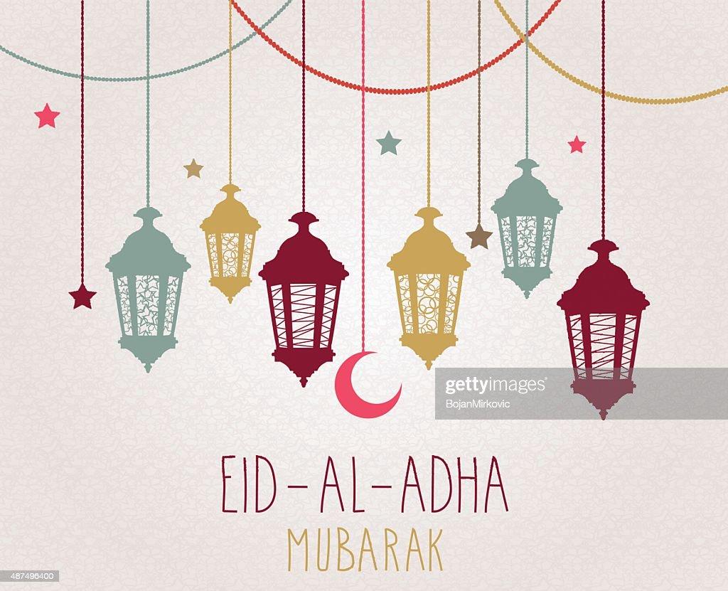 Eid Al Adha mubarak poster. Hanging colorful lantern