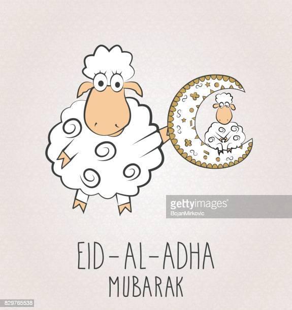 eid al adha mubarak. two sheeps with moon - eid al adha stock illustrations