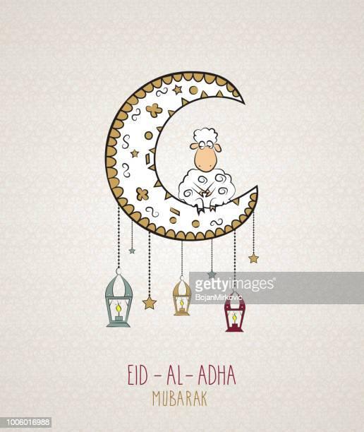 eid al adha muslim holiday card. vector illustration. - eid al adha stock illustrations